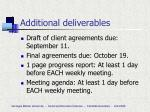 additional deliverables