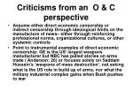 criticisms from an o c perspective