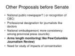 other proposals before senate