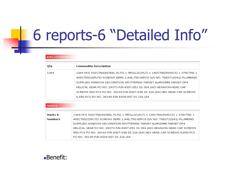 """6 reports-6 """"Detailed Info"""""""