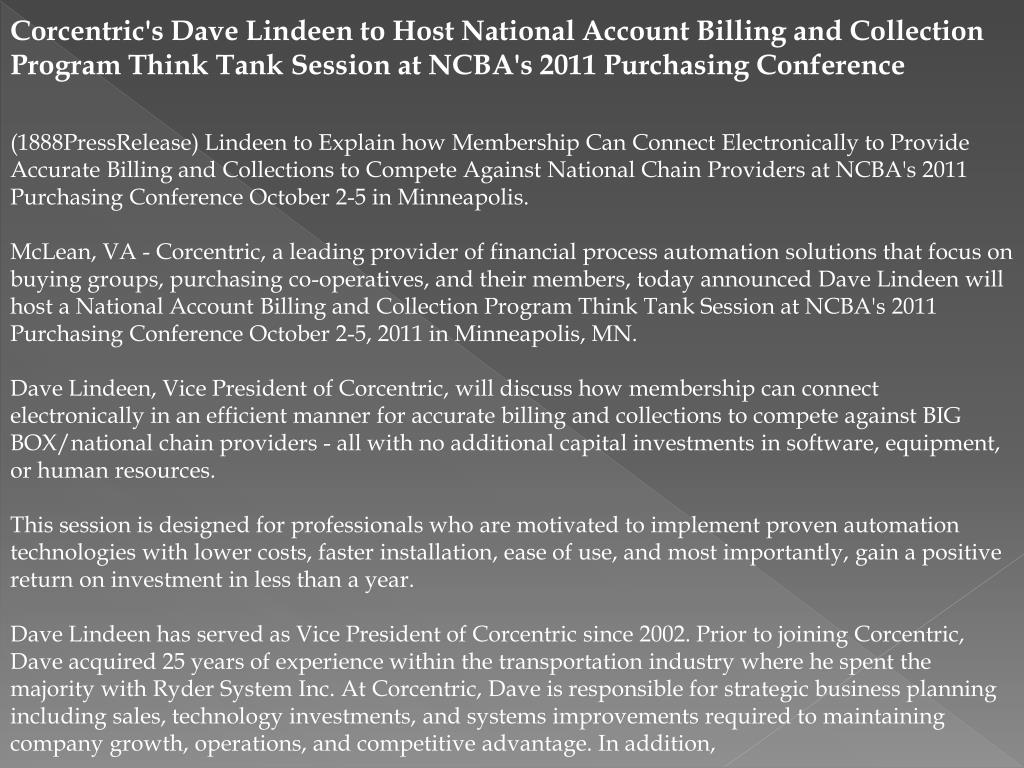 Corcentric's Dave Lindeen to Host National Account Billing and Collection Program Think Tank Session at NCBA's 2011 Purchasing Conference