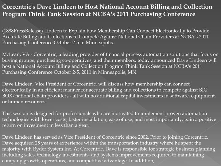 Corcentric's Dave Lindeen to Host National Account Billing and Collection Program Think Tank Session...