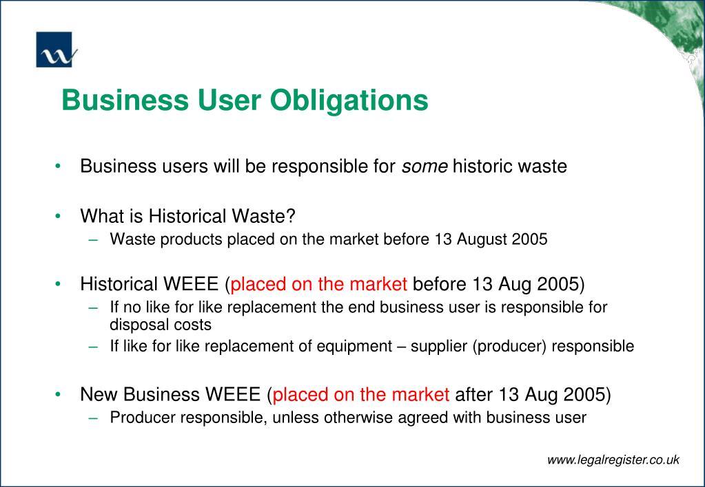 Business User Obligations