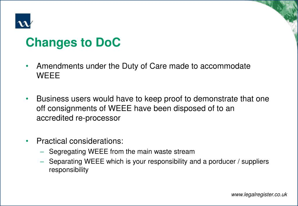Changes to DoC