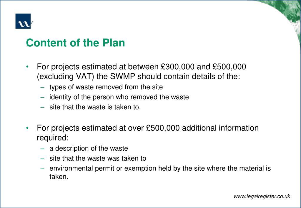 Content of the Plan