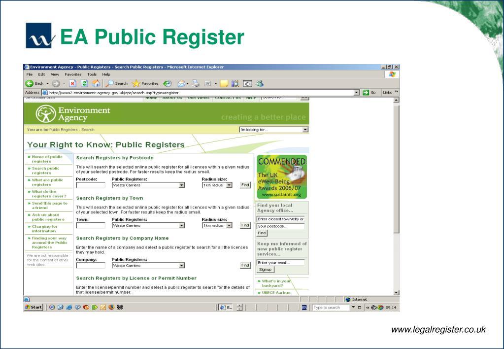 EA Public Register