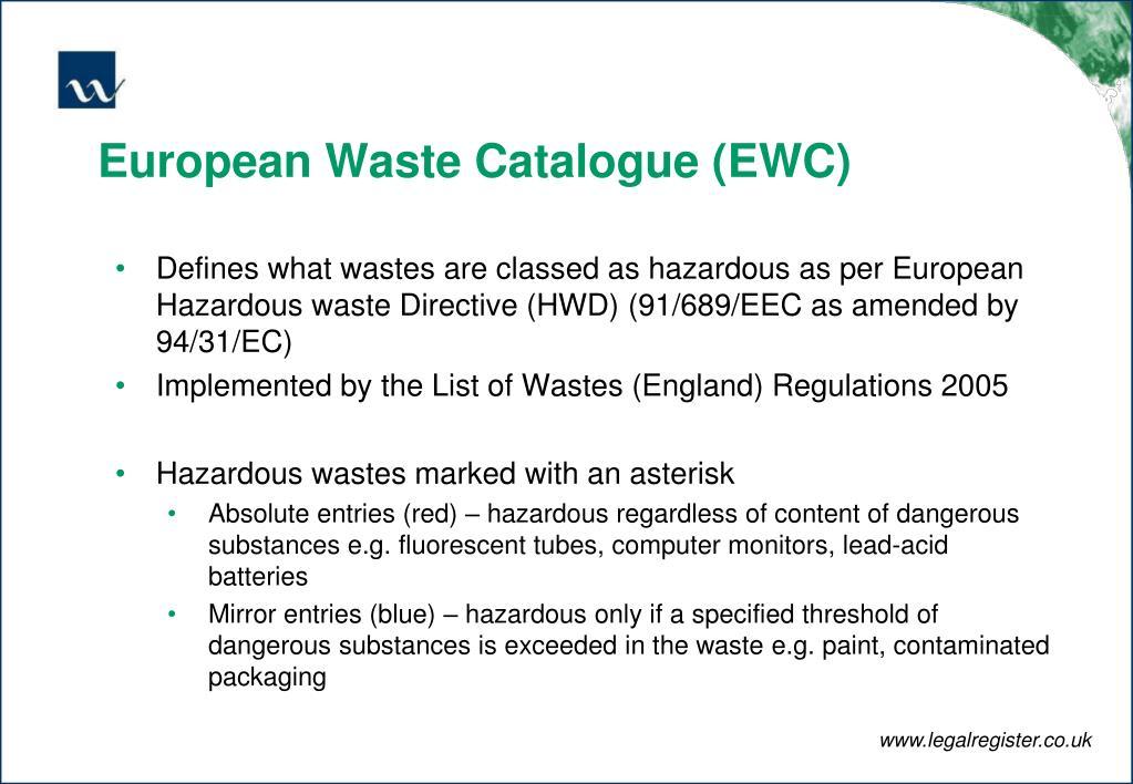 European Waste Catalogue (EWC)