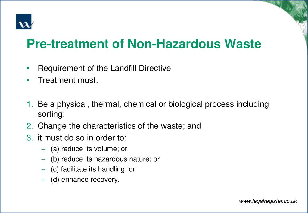 Pre-treatment of Non-Hazardous Waste