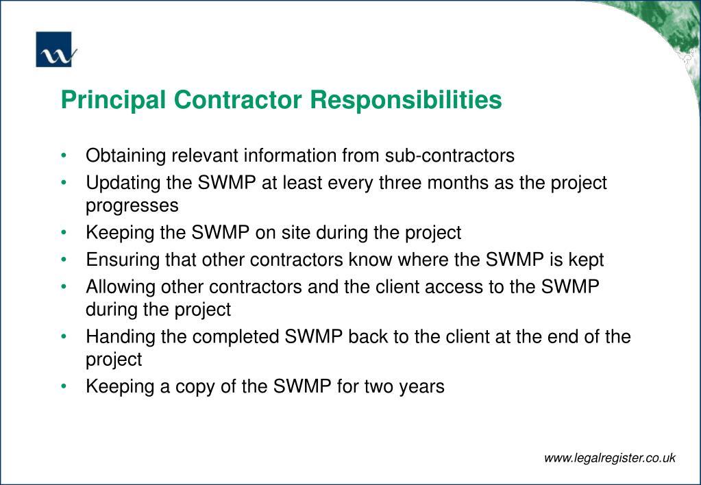Principal Contractor Responsibilities