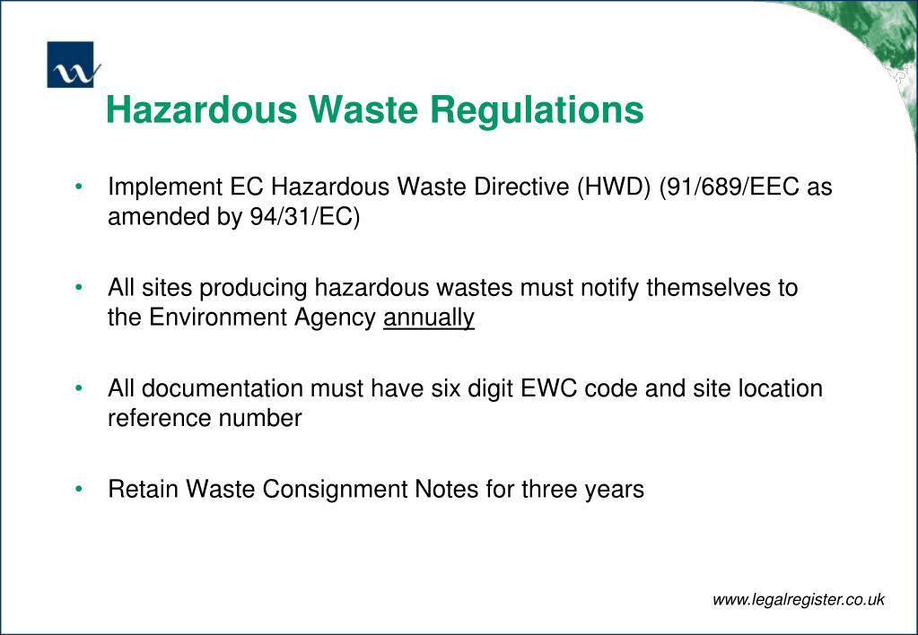 Hazardous Waste Regulations