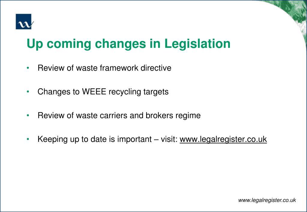 Up coming changes in Legislation
