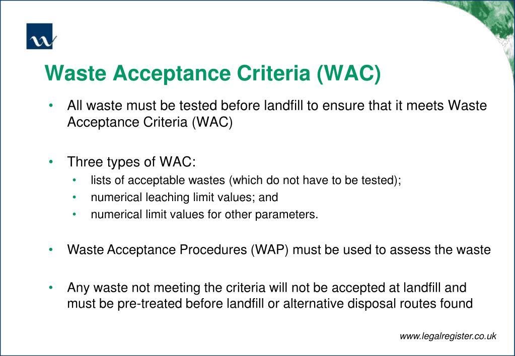 Waste Acceptance Criteria (WAC)