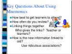 key questions about using mnemonics