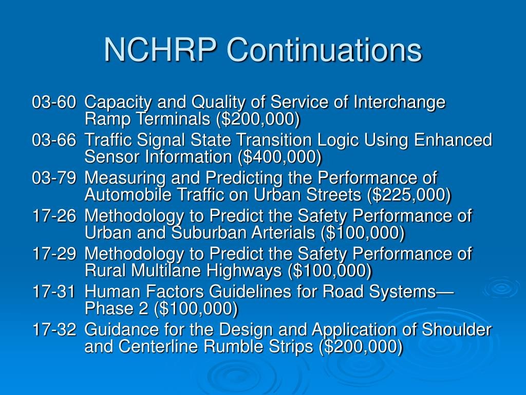 NCHRP Continuations