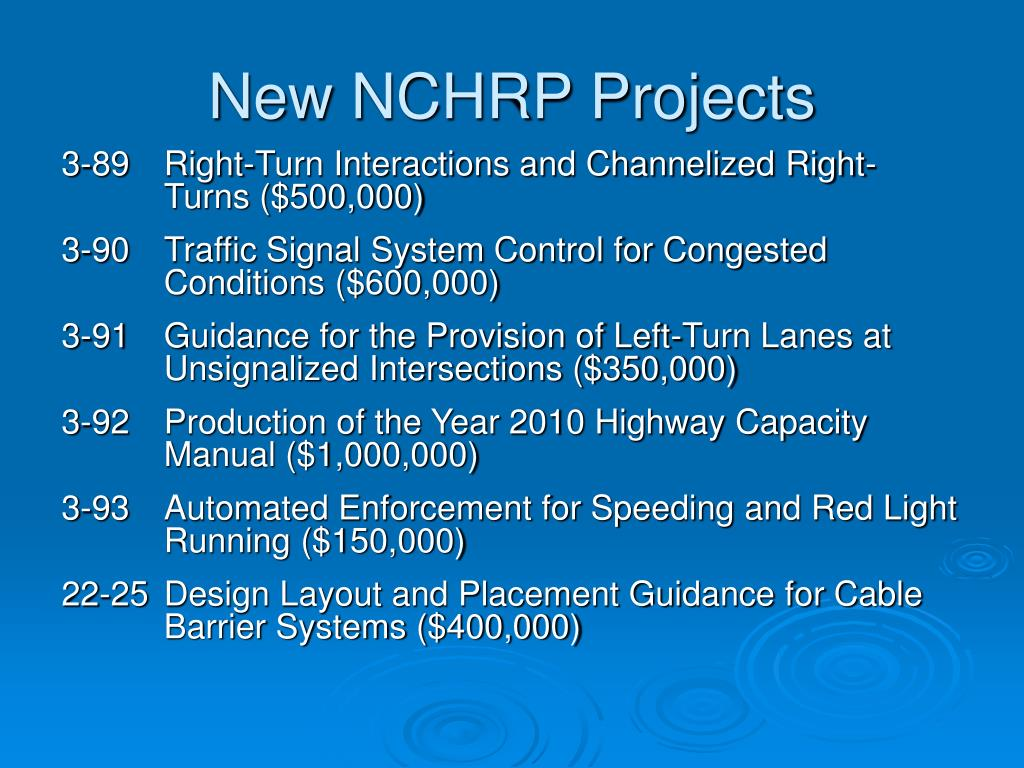 New NCHRP Projects