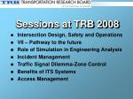 sessions at trb 2008
