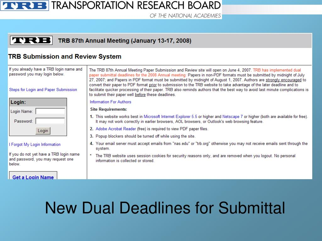 New Dual Deadlines for Submittal