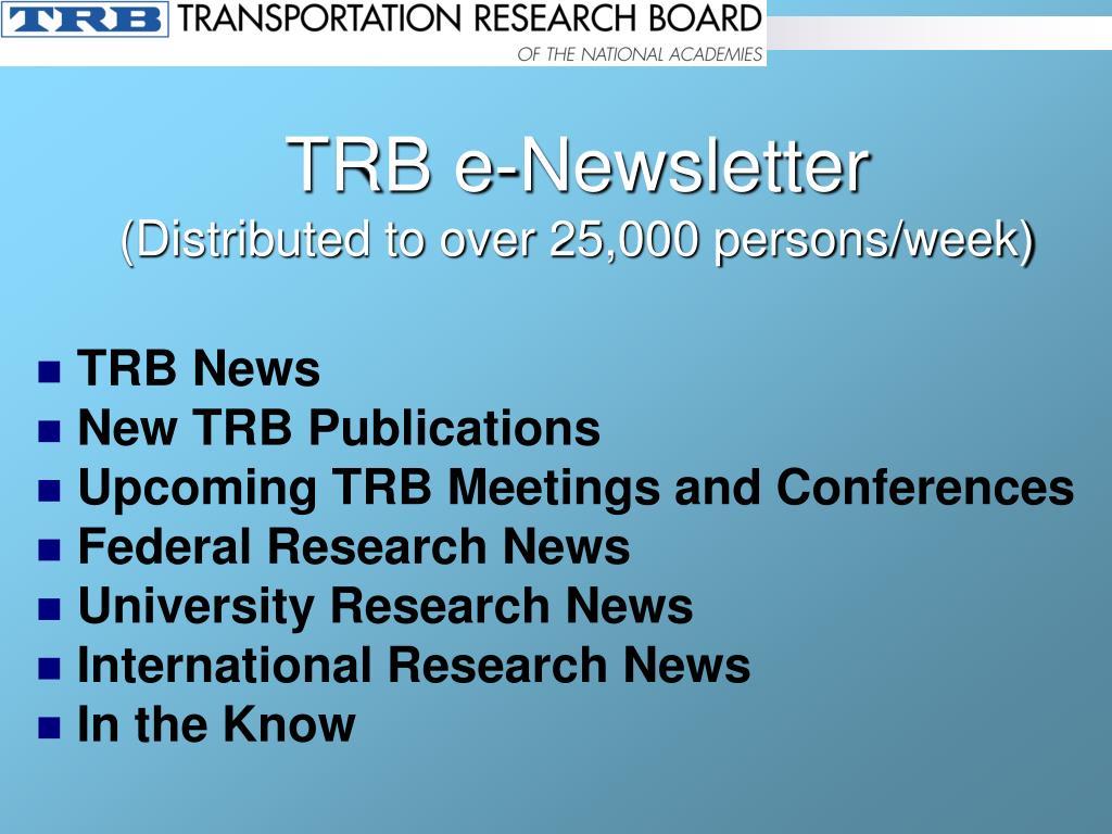TRB e-Newsletter