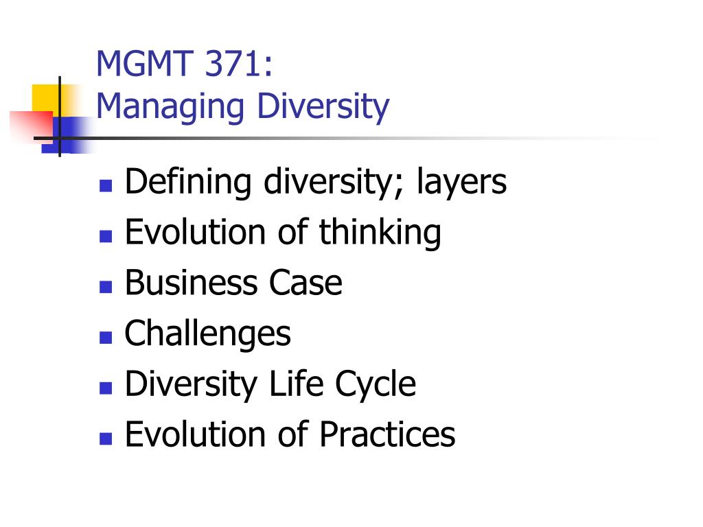 mgmt 371 managing diversity l.