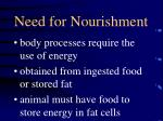 need for nourishment
