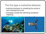 the first type is instinctive behavior