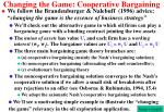 changing the game cooperative bargaining