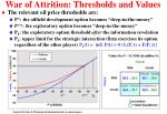 war of attrition thresholds and values