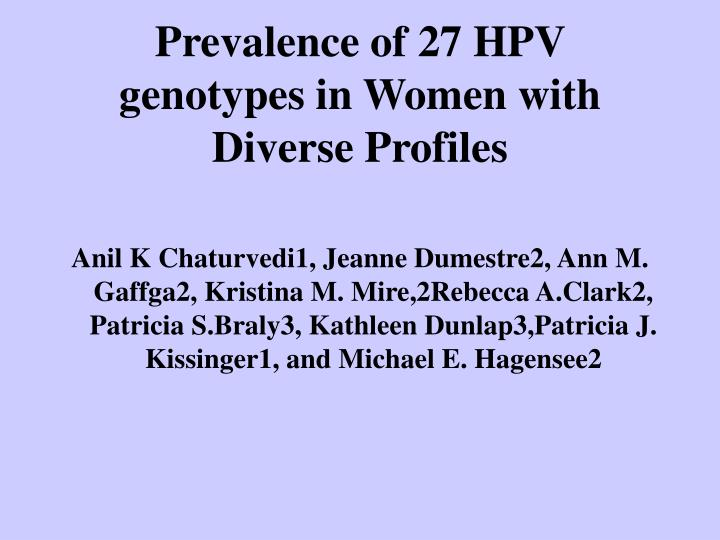 Prevalence of 27 HPV genotypes in Women with Diverse Profiles