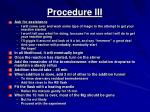 procedure iii