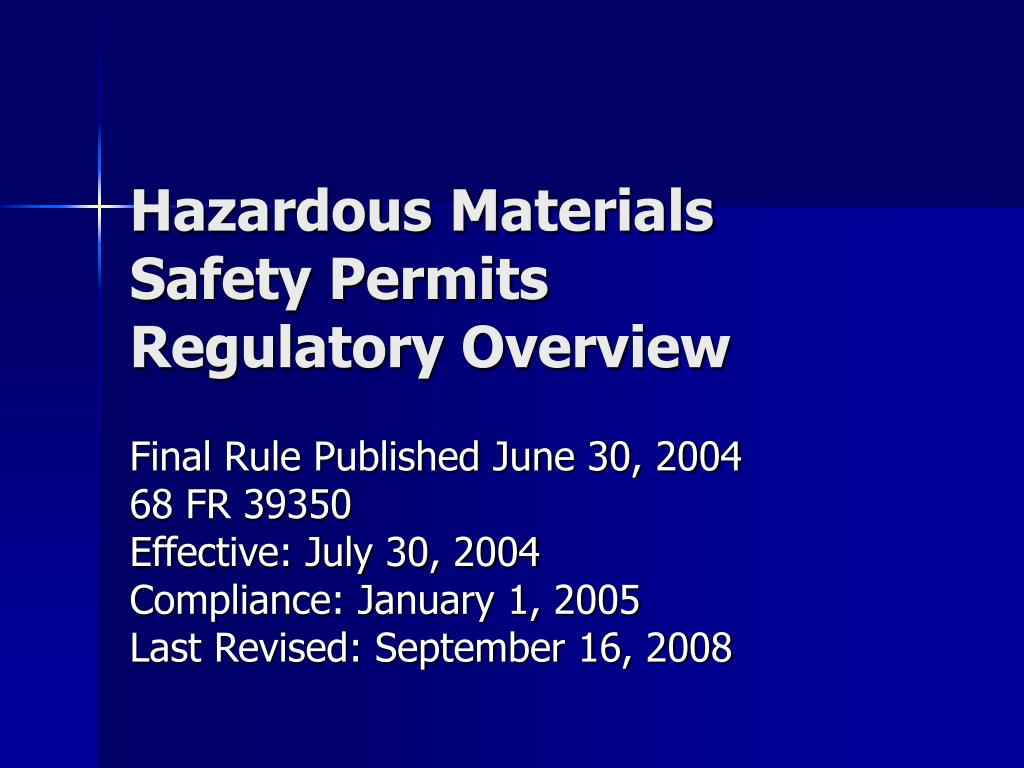 hazardous materials safety permits regulatory overview l.