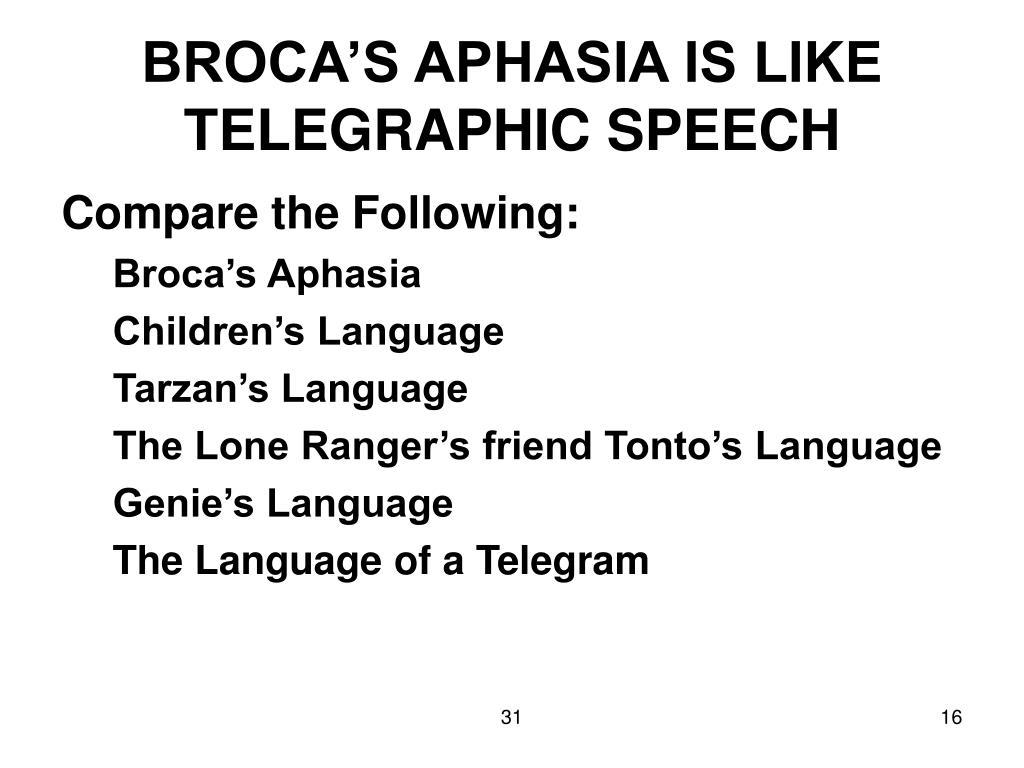BROCA'S APHASIA IS LIKE TELEGRAPHIC SPEECH