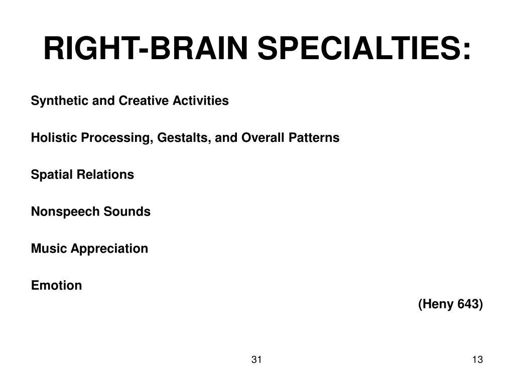 RIGHT-BRAIN SPECIALTIES: