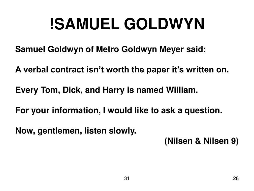 !SAMUEL GOLDWYN