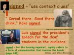 signed use context clues