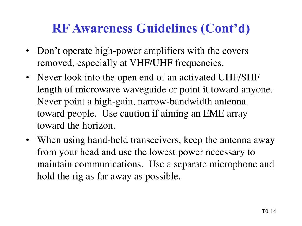 RF Awareness Guidelines (Cont'd)