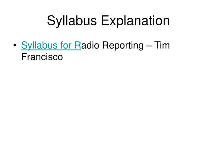 Syllabus Explanation