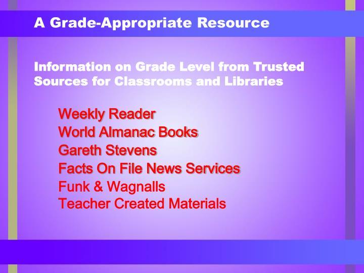 A grade appropriate resource