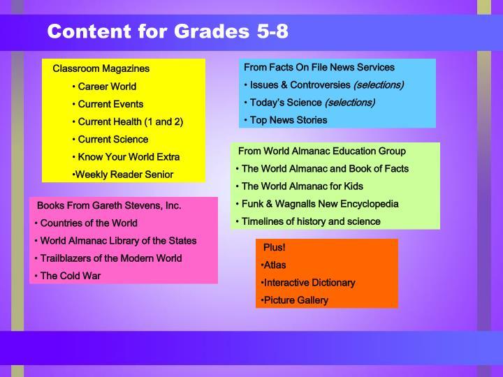 Content for Grades 5-8