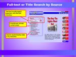 full text or title search by source