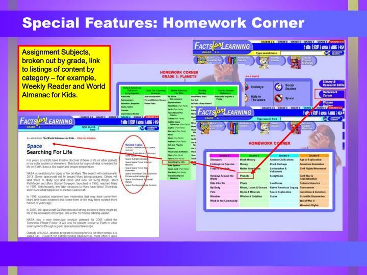 Special Features: Homework Corner