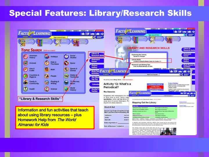 Special Features: Library/Research Skills