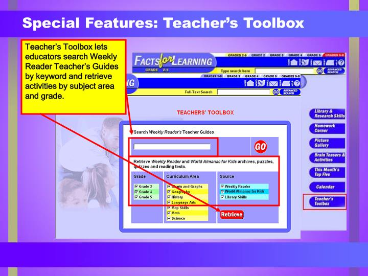Special Features: Teacher's Toolbox