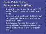 radio public service announcements psas