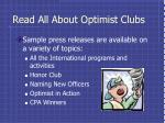 read all about optimist clubs