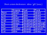 short a stem declension d na gift neut