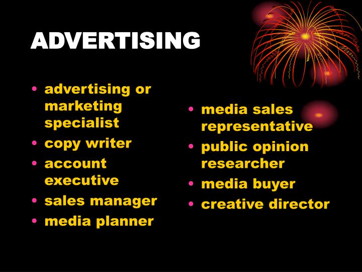advertising or marketing specialist
