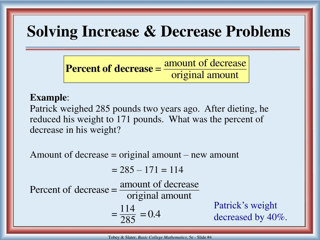 Solving Increase & Decrease Problems