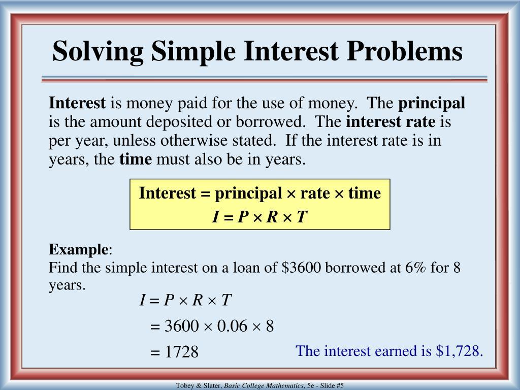 Solving Simple Interest Problems
