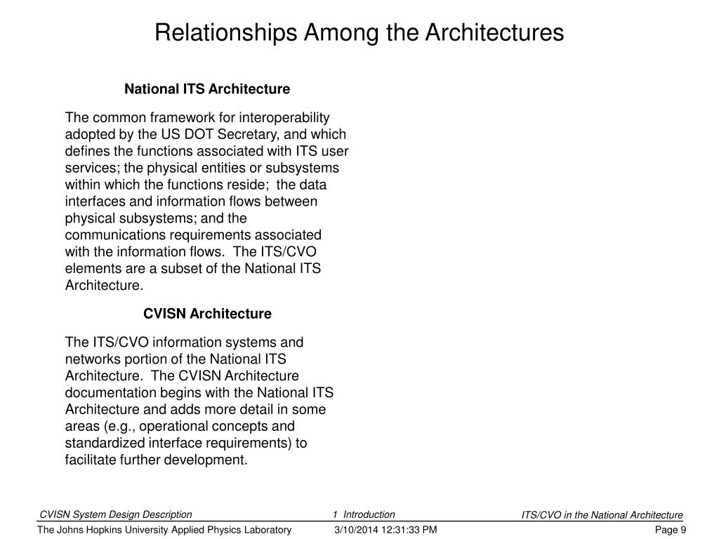 National ITS Architecture