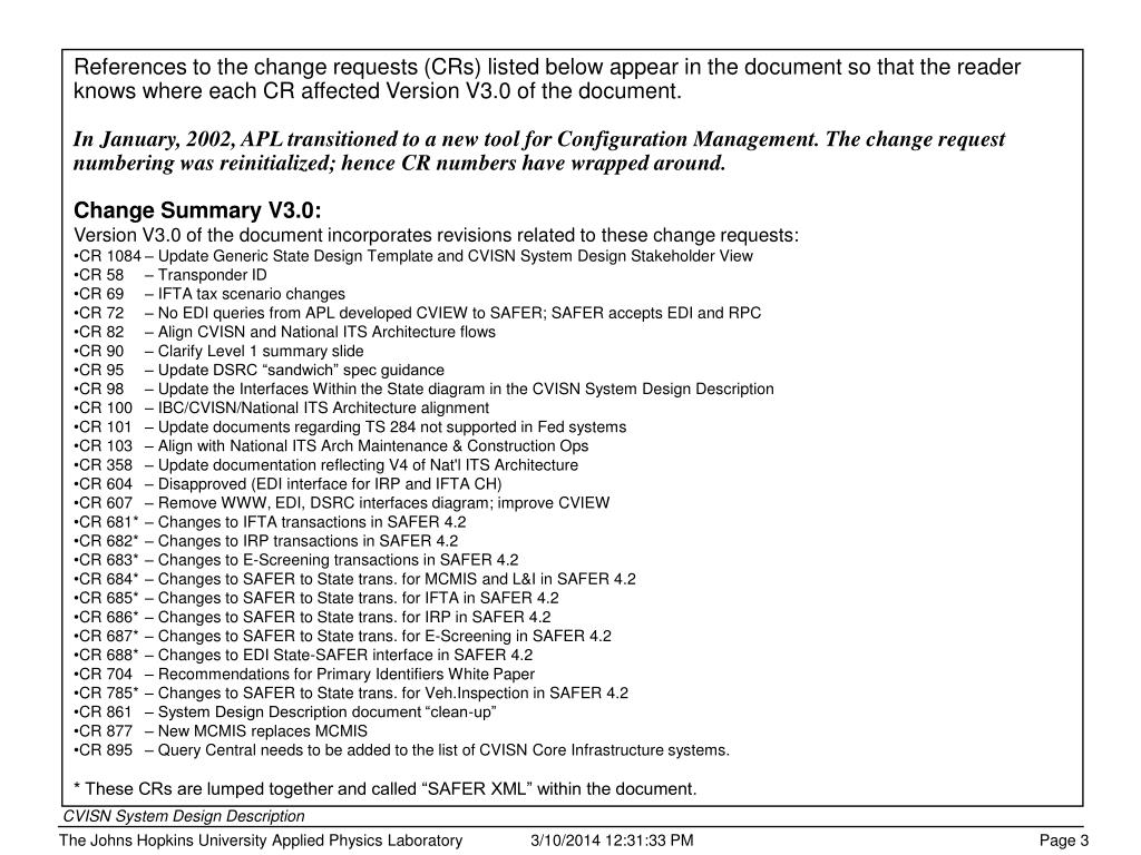 References to the change requests (CRs) listed below appear in the document so that the reader knows where each CR affected Version V3.0 of the document.